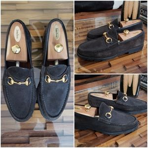 Gucci Brown Gold Horsebit Suede Loafers